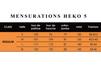 Tableau mensurations Heko 5